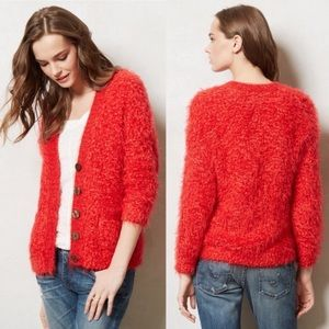 ANTHRO MOTH Red fuzzy Vneck button Emile cardigan